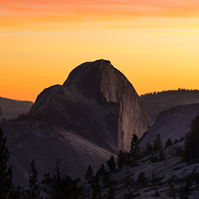 Half Dome Sunset by Evver Gonzalez - Landscapes Sunsets & Sunrises ( landscape photography, camping, mountains, yosemite national park, american west, tenaya canyon, sony alpha, wild camping, fall foliage, trees, half dome, travel photography, yosemite, high sierra, alpine, sunset, sierra nevada, california, autumn, travel, yosemite valley )