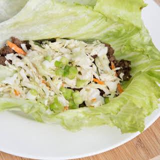 Korean Beef Lettuce Wraps with Slaw.