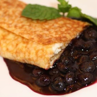 Fromage Blanc and Blueberry Crepe Blintzes.