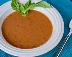 Tomato coconut basil soup