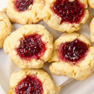 Raspberry Jam Thumbprint Cookies.