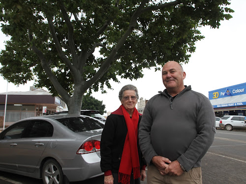 Jenny Gale and Lester Kelly next to oen of the Maitland Street trees that will be removed.