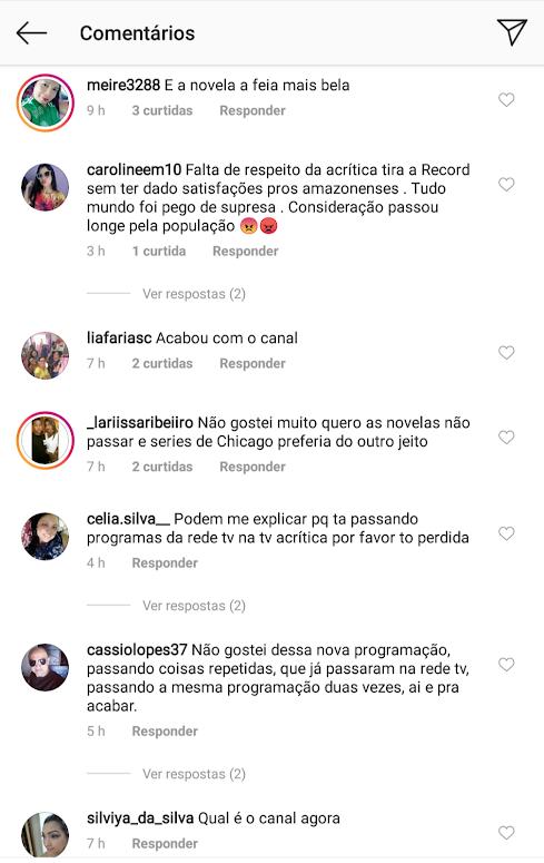 Público ataca TV Acrítica após emissora deixar de transmitir a Record TV
