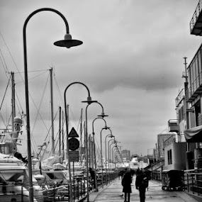 genoa's clouds by Mihai Nita - Black & White Landscapes ( clouds, black and white, silouettes, street, harbour, city lights, rain,  )