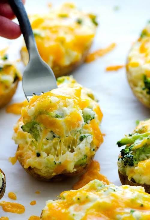 """Click Here for Recipe: Cheesy Broccoli Twice-Baked Potatoes """"These Cheesy Broccoli Twice-Baked..."""