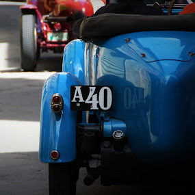 Oldies by Cosimo Resti - Transportation Automobiles ( licence plate, racing, blue, old, tail lights )