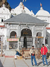 Photo: Gangotri temple.(me(red) with my brother).