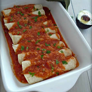 Gluten Free Chicken Enchiladas with Red Sauce.