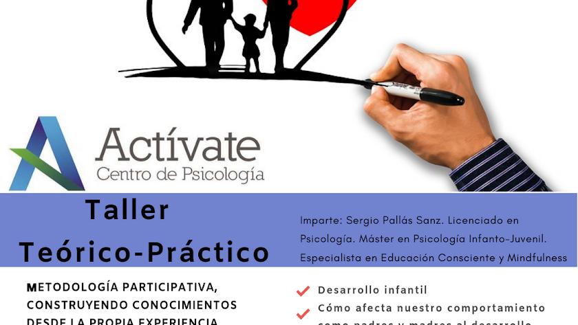 Cartel del Taller de Educación Emocional de Actívate Psicología, dirigido a padres y madres.