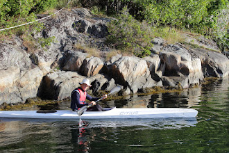 Photo: Morning trip in Sondre's kayak - but not in shape for a race yet.