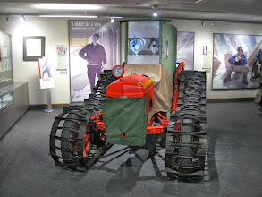 Photo: Inside the Hermitage Hotel was the Sir Edmund Hillary Alpine Centre. There were exhibits about various aspects of his life, as well as about other area pioneers and the history of the hotel. Hillary trained for his Everest climb as well as for his South Pole trip in this area. This Ferguson tractor is a replica created a few years ago. A total of seven TE20 tractors were ordered for the 1956-58 Trans-Antarctic Expedition...three were taken to Pole and given to the program by Hillary (in return for having VX-6 fly the party back to McMurdo). They stayed around for awhile but eventually were returned. One is in the Canterbury museum in Christchurch; one is in the Ministry of Transport and Technology museum in Auckland, and the third is at the Massey Ferguson plant in Beauvais, France.  There were showings of a number of films as well as planetarium shows. I saw a 3D short film about Aoraki/Mt. Cook and a longer film about Hillary's life, featuring the Everest climb (the film was by Mike Single).