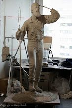 Photo: The clay model of the statue. The base of the statue has now been created.