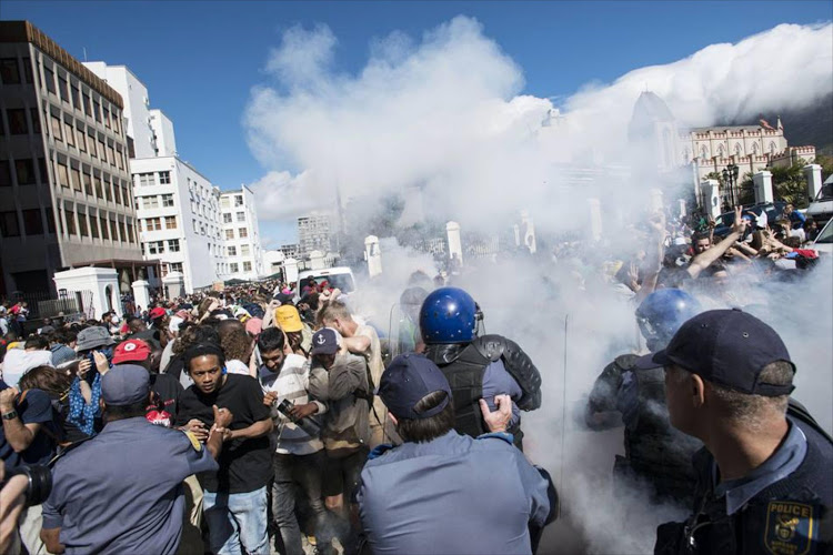 Students clash with police during Fees Must Fall Protests.