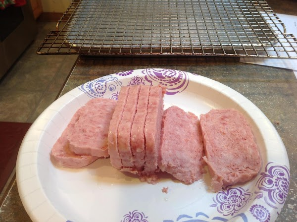 Slice Spam into desired size thickness.