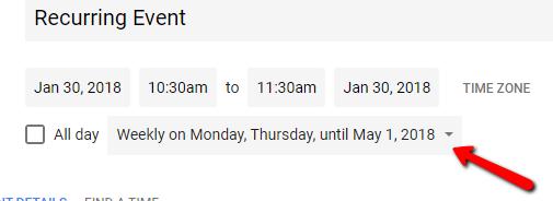 Google Calendar Custom Repeat Created