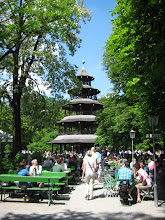 Photo: Free afternoon, so we went for lunch at the Chinese tower in the English Garden.