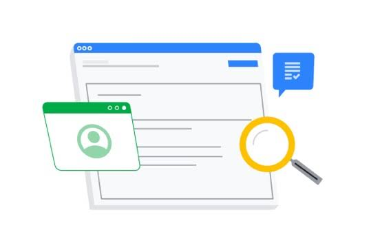An illustration of a magnifying glass rolling over a browser window. Surrounding the icons are a green window with a person icon and a blue speech bubble.