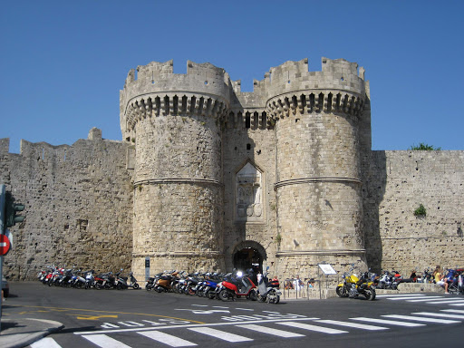 The Sea Gates, the main entrance to Rhodes, Greece.