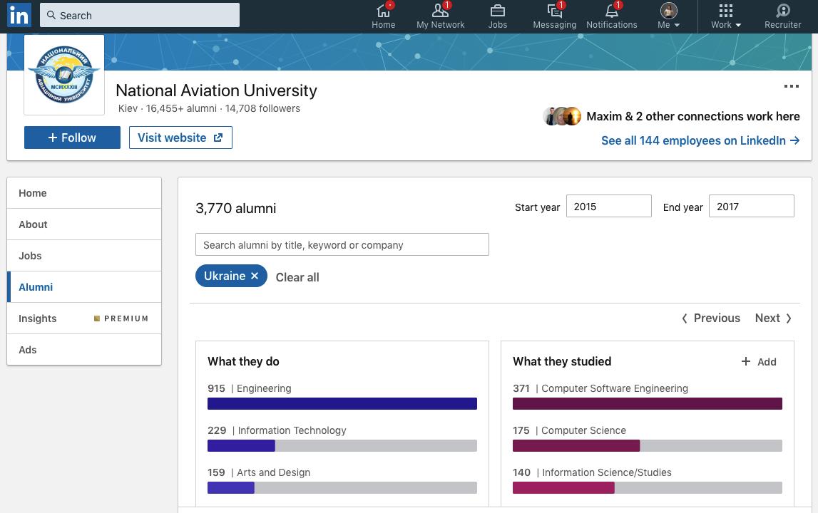 Поиск в Linkedin по вузам