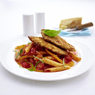 Breaded Pork Cutlets with Vegetables and Penne