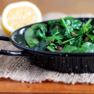 Sauteed Baby Spinach with Pine Nuts and Raisins Recipe