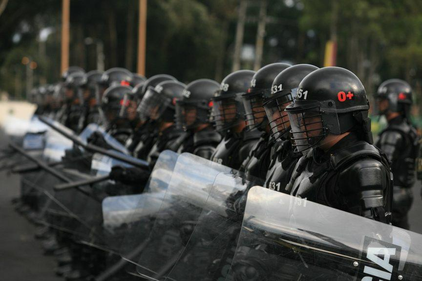 Colombia's special riot police, ESMAD, line up in Bogota