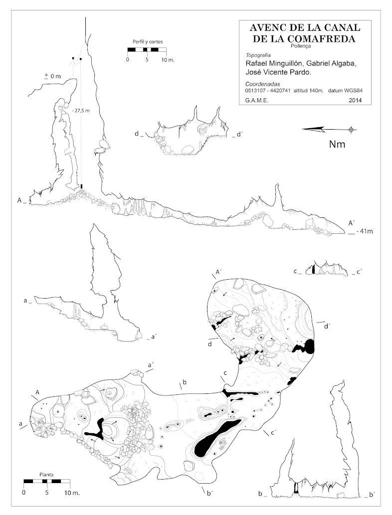 Topografía Avenc de la canal de la Comafreda -Topografía Rafael Minguillón -BTTersMallorca