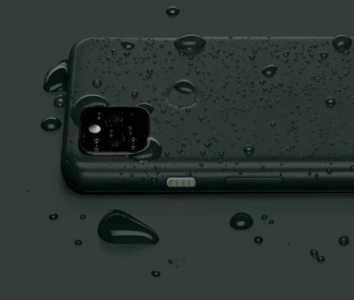 The backside of Pixel 5a with 5G is covered with rain drops