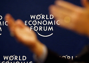 Photo: DAVOS,25JAN03 - Logo of The World Economic Forum during  the 'Annual Meeting 2003' of the World Economic Forum in Davos/Switzerland, January 25, 2003. 