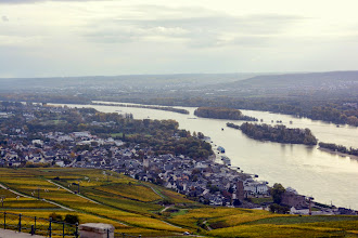 Photo: Looking back down on the Rhine and our boat
