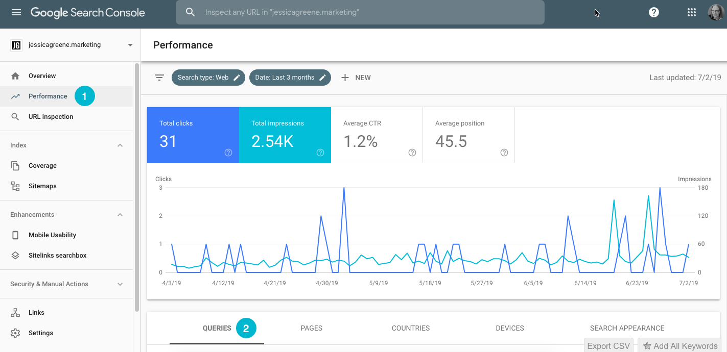 find keywords in google search console