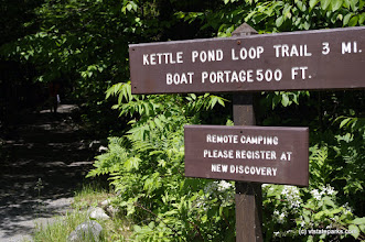 Photo: These signs will help you get to the pond to kayak at Kettle Pond State Park by Justin Lajoie