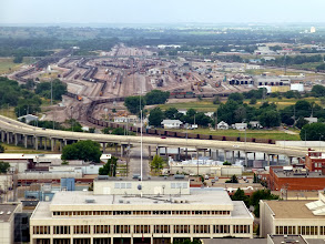 Photo: Large railyard to the west.