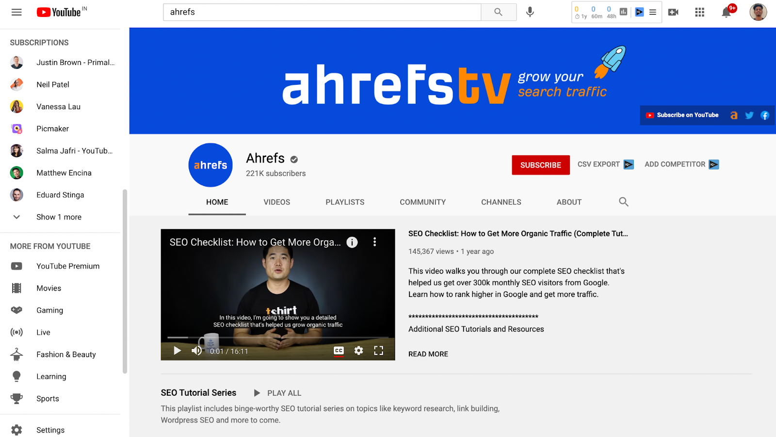 Screenshot of Ahrefs's youtube banner example 1