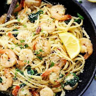 Lemon Garlic Parmesan Shrimp Pasta.