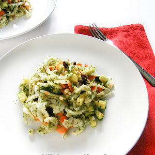 Summer Vegetables and Black Beans with Roasted Garlic and Fennel Fronds Pesto