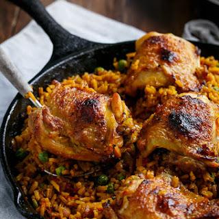 One Pan Crispy Spanish Chicken and Rice (Arroz Con Pollo)