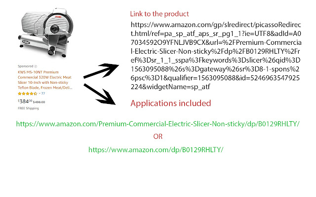 Short links to products in Amazon