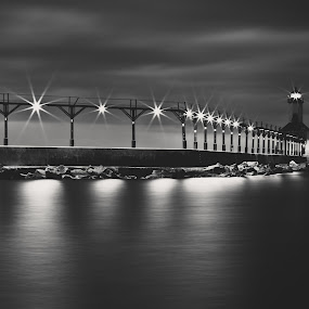 AND THEY LOOK FOR A DRY PLACE TO CALL THEIR HOME by Erin Watson - Landscapes Travel ( clouds, water, indiana, b&w, lake michigan, erin watson photography, lighthouse, white, erin watson, michigan city, beach, black )