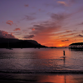 Sunset, Hanalei Bay by John Canning - Landscapes Waterscapes ( silhouette,  )