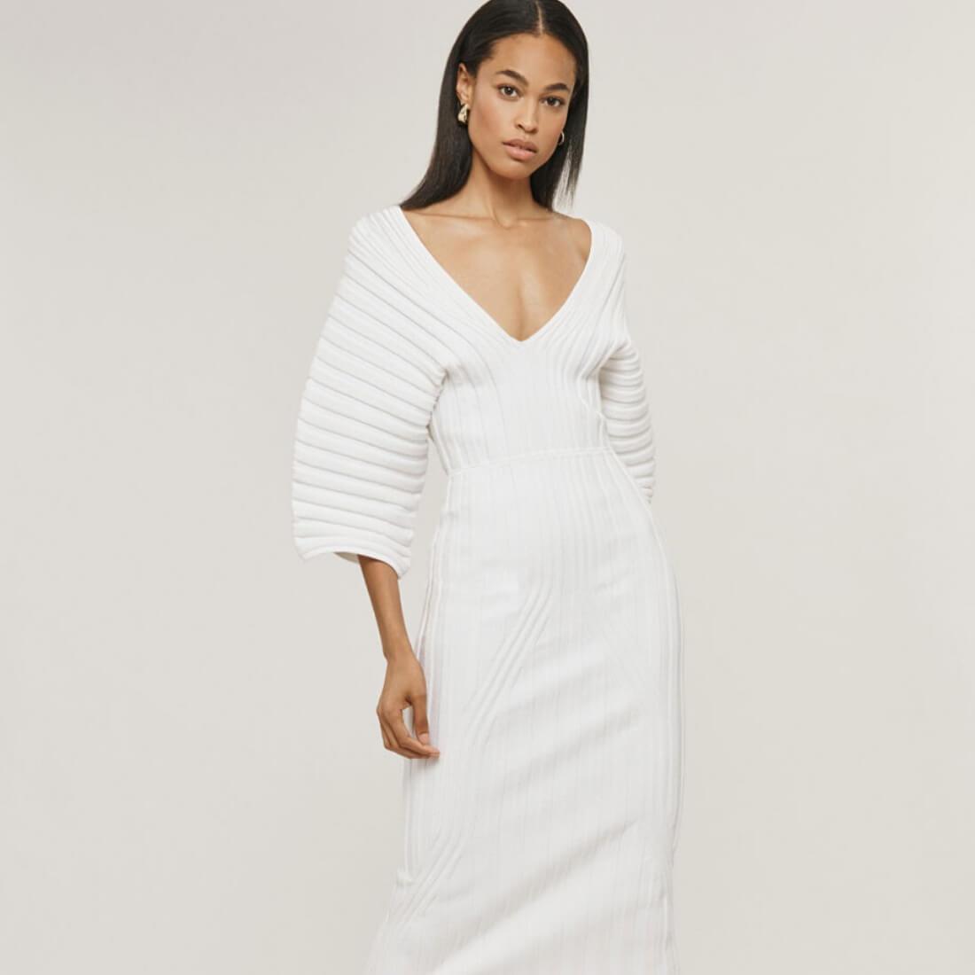 CUSHNIE White ribbed knit dress