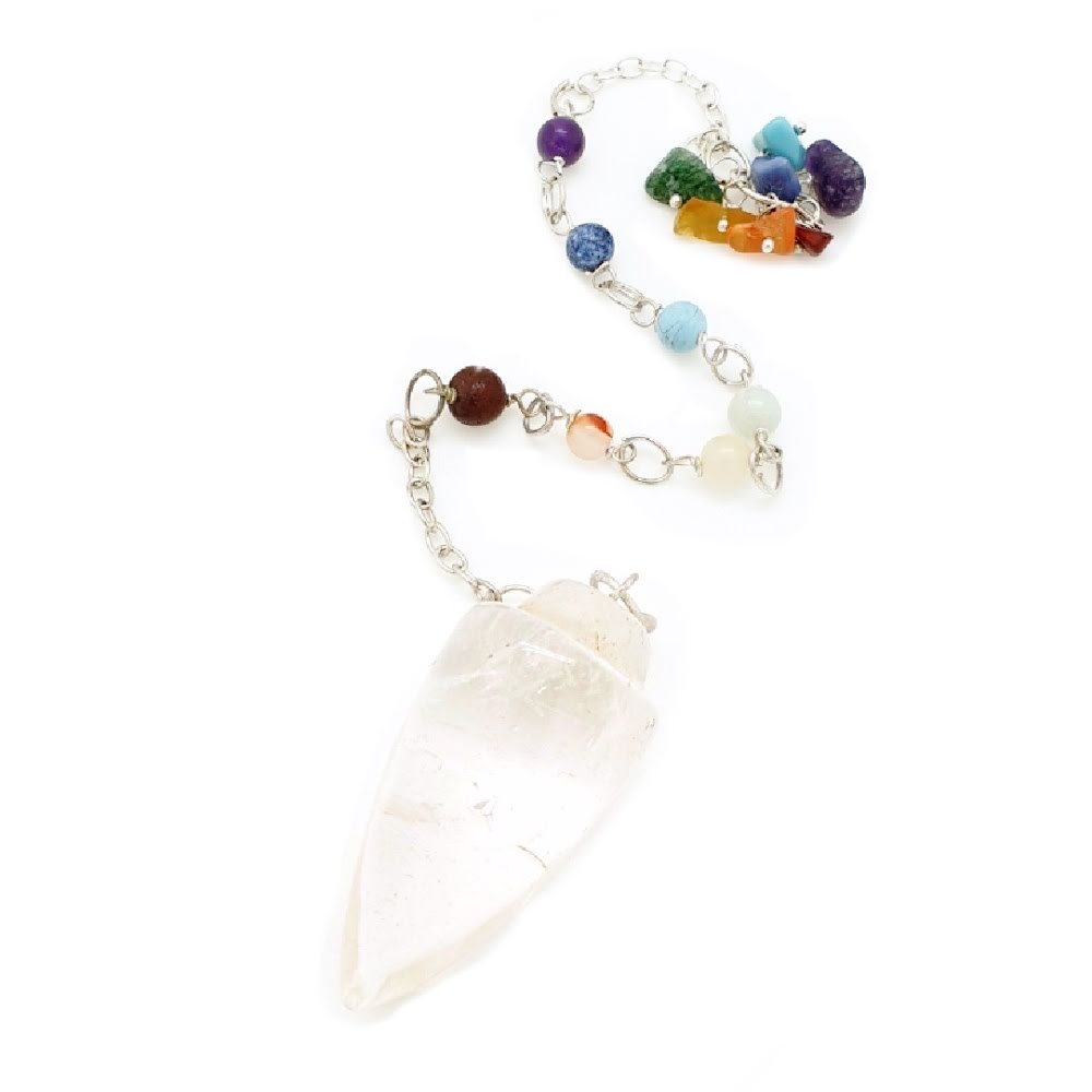 Bergkristall, pendel med chakrastenar