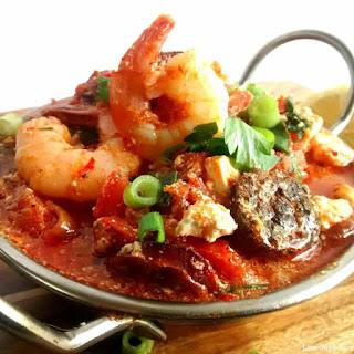 Chilli Prawns w/ Chorizo, Tomato & Feta