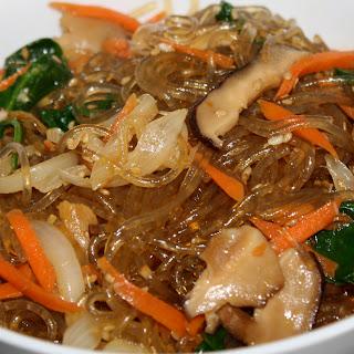 Vegan Japchae (Korean Sweet Potato Noodles).