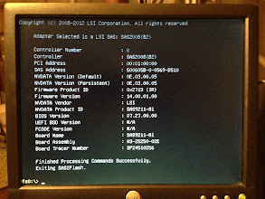 Photo: I removed the LSI card from the other server and installed it into the server which had a UEFI shell.  This output is from before the flash upgrade.