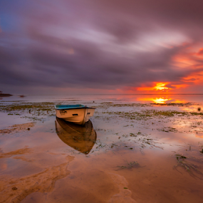 The Red Light by Choky Ochtavian Watulingas - Landscapes Beaches ( clouds, sand, seaweeds, reflections, long exposure, beach, seascape, sunrise )
