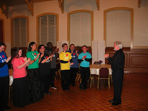 Photo: April 2008: Final Concert; Jeffery Kite-Powell at greeted at reception by singers