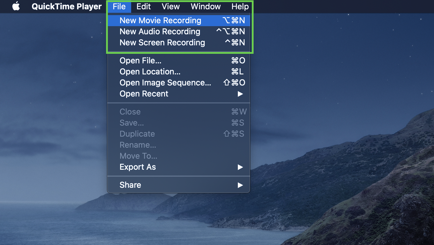 Creating a new movie recording in Quicktime