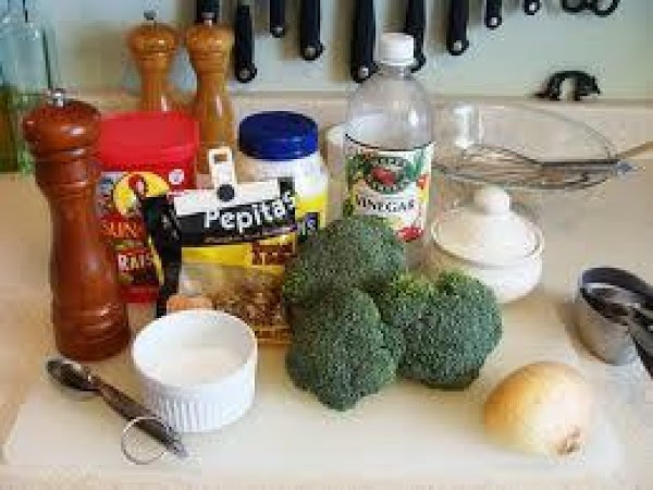 Make dressing with mayo, sugar, vinegar, salt, pepper and then I use about a...