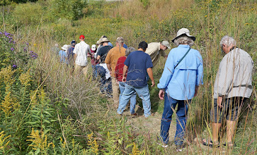 Photo: We walk down a slope, examining rocks and plants along the way.